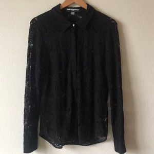 Karl Lagerfeld Lace Button Up with Pyramid Stud